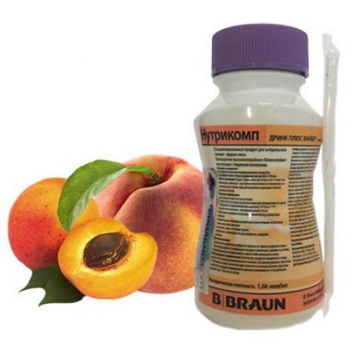 Нутрикомп Дринк Плюс Файбер, персик-абрикос, в пластиковой бутылке -  жидкая смесь для энтерального питания, 200 мл