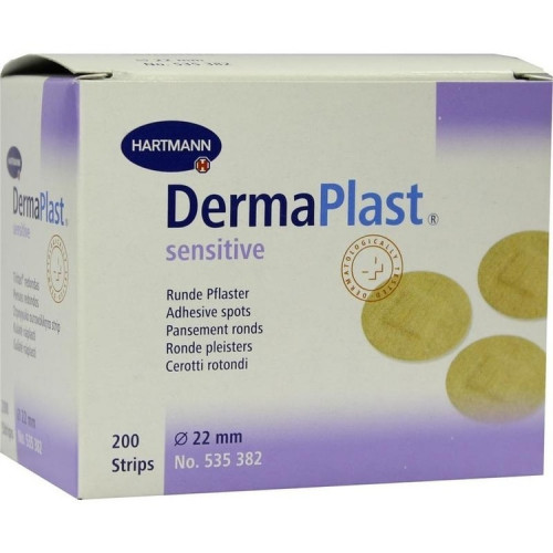 [недоступно] DermaPlast Sensitive / ДермаПласт Сенситив - пластырь гипоаллергенный, из эластичного материала, телесный, диаметр 22 мм, 200 шт