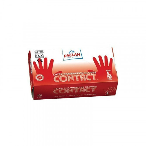 [недоступно] Paclan Contact  / Паклан Контакт – латексные перчатки, 100 шт, L