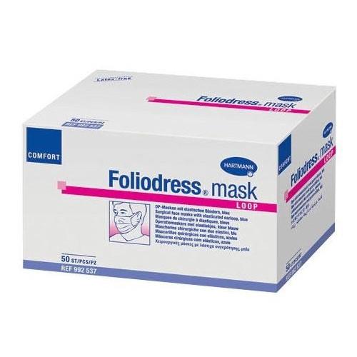 Foliodress mask comfort loop / Фолиодрес мэск комфорт луп - маска на лицо из нетканого материала на резинке, 50 шт, голубая