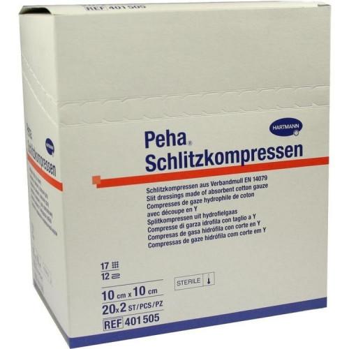 Peha Schlitzkompressen Steril / Пеха Шлицкомпрессен Стерил - стерильная нетканая салфетка с Y-образным вырезом, 10x10 см, 17 нитей, 20x2 шт.