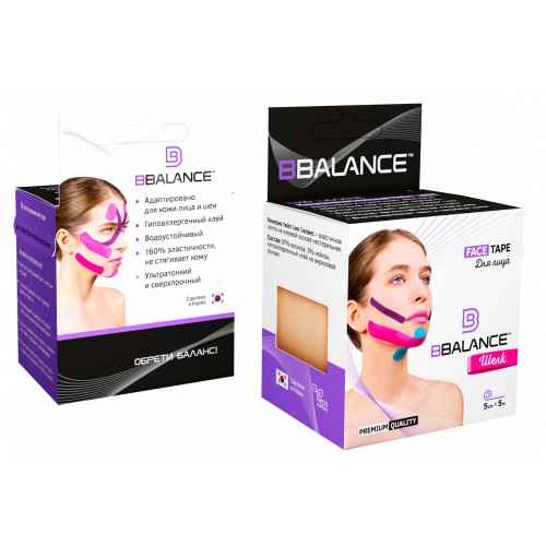BBTape Face Tape / БиБи Тейп Фейс Тейп - кинезио тейп для лица, шелк, бежевый, 5 см x 5 м