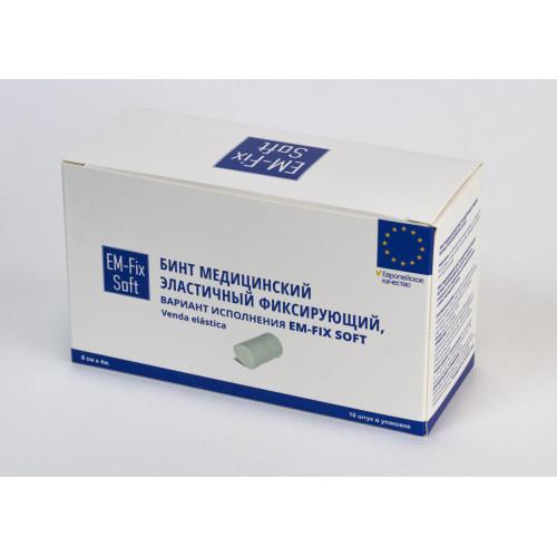 EM-Fix Soft / ЭМ Фикс-Софт - бинт медицинский эластичный фиксирующий, 8 см x 4 м, белый, 10 шт.