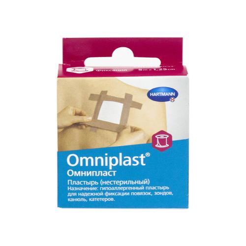Omniplast / Омнипласт - пластырь из текстильной ткани, с еврохолдером, телесный, 1,25 см x 5 м