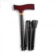 Valentine International 10121BL / Валентайн Интернэшнл - трость телескопическая, складная, с деревянной ручкой, 82-92 см, черная