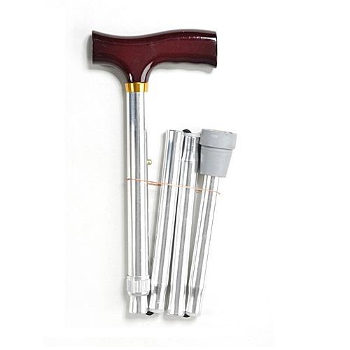 Valentine International 10121SL / Валентайн Интернэшнл - трость телескопическая, складная, с деревянной ручкой, 82-92 см, хром