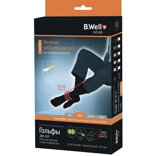 B.Well rehab JW-127 / Би Велл - компрессионные гольфы мужские (2 класс, 23-32 мм рт. ст.), №4, черные