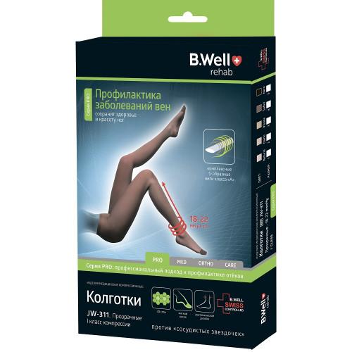 B.Well rehab JW-311 / Би Велл - компрессионные колготки (1 класс, 18-22 мм рт. ст.), №3, черные