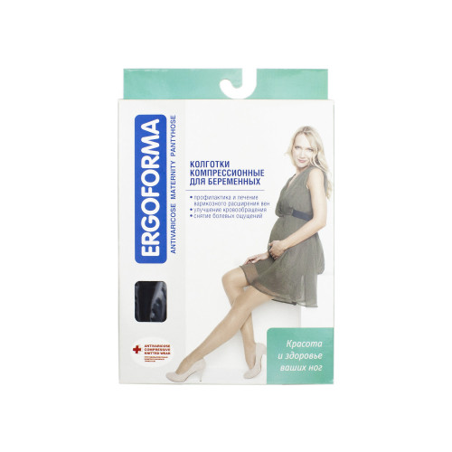 Ergoforma / Эргоформа - компрессионные колготки для беременных (1 класс), размер №5, черные