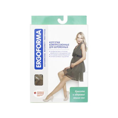 Ergoforma / Эргоформа - компрессионные колготки для беременных (1 класс), размер №4, телесные