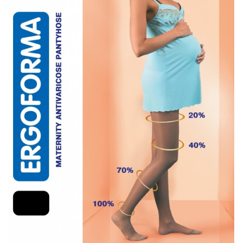 Ergoforma / Эргоформа - компрессионные колготки для беременных (1 класс, 18-22 мм. рт. ст.), №1, чёрные