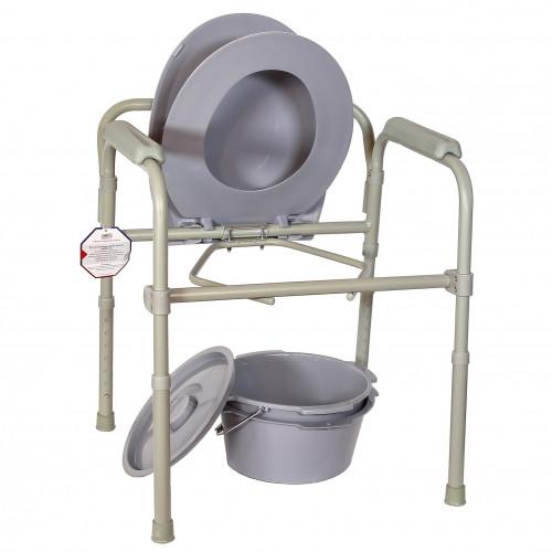 Amrus AMCB6806 / Амрос - кресло-туалет, с пластиковой спинкой, складное, стальное