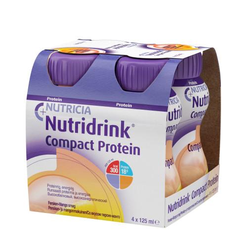 Nutridrink Compact Protein / Нутридринк Компакт Протеин, персик-манго - жидкая смесь для лечебного питания, 125 мл x 4 шт.
