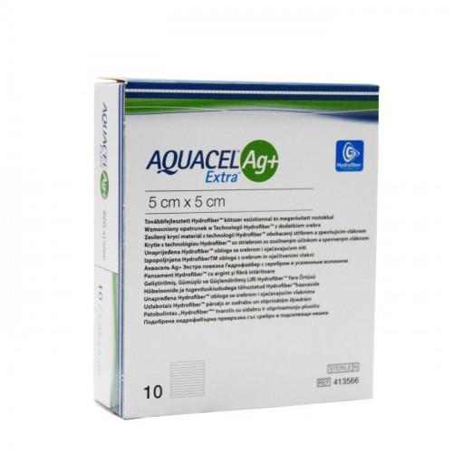 Aquacel Extra Ag + / Аквасель Экстра Аг + с серебром - усиленная абсорбирующая повязка с серебром, 5x5 см
