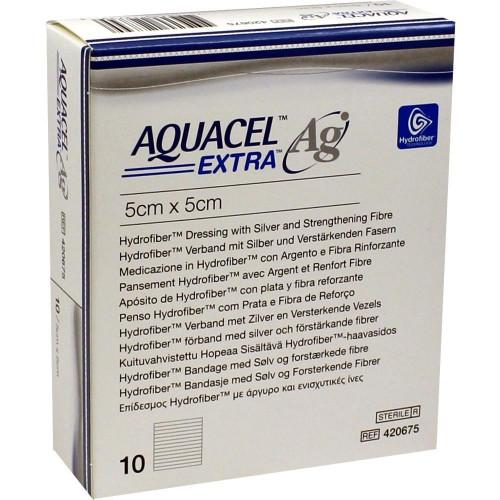Aquacel Extra Ag / Аквасель Экстра Аг с серебром - абсорбирующая повязка с серебром, 5x5 см