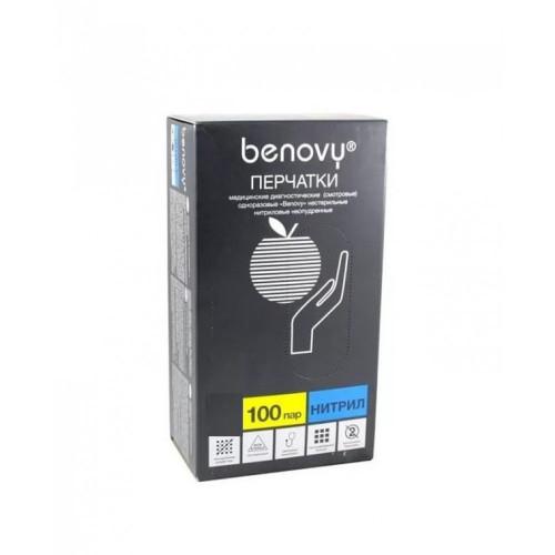 [недоступно] Benovy Nitrile Chlorinated / Бенови - перчатки нитриловые, неопудренные, текстурированные, голубые, M, 200шт. / 100 пар