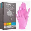 Benovy Nitrile MultiColor / Бенови - перчатки нитриловые, текстурированные на пальцах, розовые, M, 50 пар