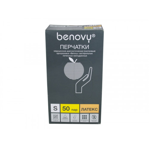 Benovy / Бенови- латексныеперчатки без пудры, S, 100 шт