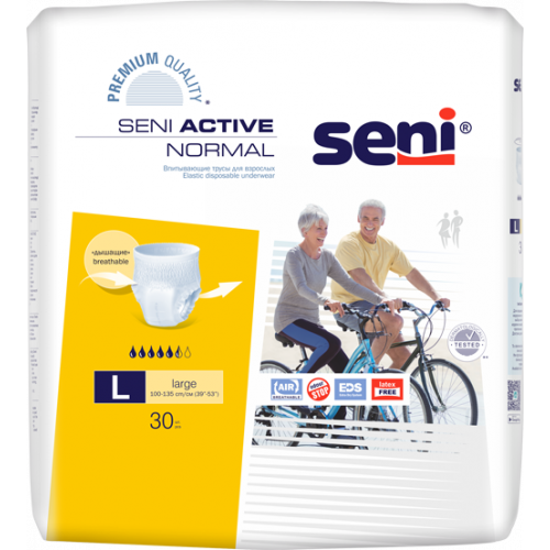 Seni Active Normal / Сени Актив Нормал - впитывающие трусы для взрослых, L, 30 шт.