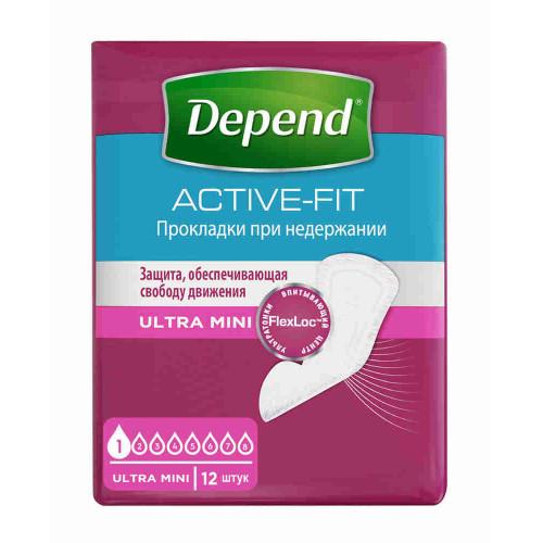 Depend Active-Fit Ultra Mini / Депенд Актив-Фит Ультра Мини - урологические прокладки для женщин, 12 шт.