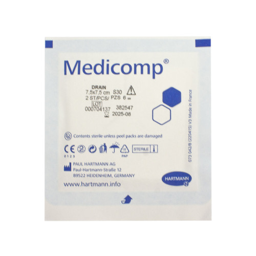Medicomp Drain Steril / Медикомп Драйн Стерил - стерильная салфетка с Y-образным вырезом, 7,5х7,5 см, 2 шт.